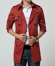 Mens Windbreak Parka Leisure Double Breasted Trench Belted Slim fit Coat #
