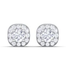 0.29ct Small Round Diamond Halo Stud Earrings Women Wedding Gift 18K White Gold