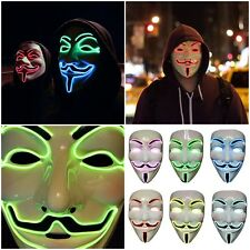 LED V For Vendetta Movie Costume Mask Guy Fawkes Anonymous Halloween Cosplay