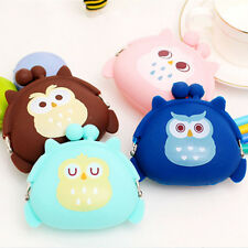 Cute Girls Coin Purse Owl Bag Silicone Mini Wallet Change Purse Keyring Pouch