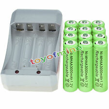 12x AA 3000mAh 1.2V Ni-MH GRE Color Rechargeable Battery Cell +Charger