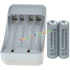 2x AA 3000mAh 1.2V Ni-MH GREY Color Rechargeable Battery Cell +Charger