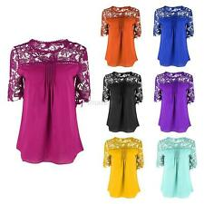 Womens Summer Loose Chiffon Short Sleeve Lace T Shirt Tops Blouse Plus Size
