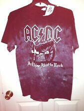 """BRAND NEW AC-DC LIQUID """"BLUE CANNON""""  TIE-DYE T-SHIRT  """"FOR THOSE ABOUT TO ROCK"""""""