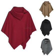 Womens Winter Woolen Batwing Poncho Cardigan Coat Jacket Casual Cloak Cape Parka