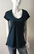 James Perse Knit Top Short Sleeve Scoop Neck Teal Size 3,4 NWT
