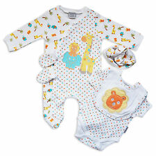 5PC Cute Unisex Baby Layette Outfit Girls Boys Set Lion Zoo Animals By Aardvark