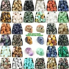carved skull statue natural energy stone crystal healing spacer beads DIY 16mm