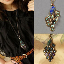 Lady Chain Necklace Peacock Women Rhinestone Long 1pcs Hot Retro Style Pendant