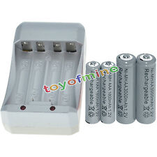 2x AA 3000mAh+2x AAA 1800mAh 1.2V NI-MH GREY Color Rechargeable Battery+Charger