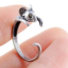 Super Sale Bronze Mouse Ring Girl's Retro Burnished Rat Mice Animal Ring Jewelry