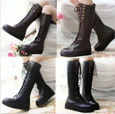 HOT SALE  Style Womens Lace Up Platform Gothic Punk Knee High Military Boot