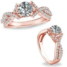 1.25 Carat Diamond Crossover Solitaire Wedding Bridal Ring Band 14K Rose Gold