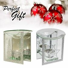 CHRISTMAS GIFT Glass Silver Glitter Yankee Candle Oil Burner Tea Light Holder