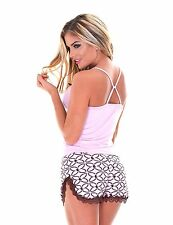 Women's Short and Camisole PJ SET / 2 Piece Pajama with Tank Top & Short - Pink
