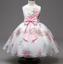 Bowknot Flower Girls Kid Princess Formal Dress Floral Wedding Party Toddler Gown