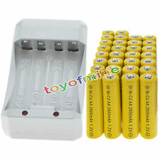30 AA Yellow Rechargeable Batteries NiCd 2800mAh 1.2v Solar Light + Charger