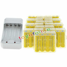48AA Yellow Rechargeable Batteries NiCd 2800mAh 1.2v Solar Light+Charger+12xCase