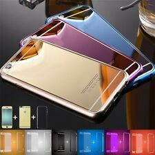 Front Back Mirror Tempered Glass Metal Bumper Frame Case For iPhone 7 6 6S Plus