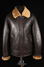 USAF B3 BOMBER GINGER Mens WW2 Real Shearling Sheepskin Leather Jacket