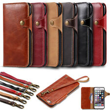 Luxury Leather Wallet Cards Flip Case Cover with Strap For Apple iPhone 7/7 Plus