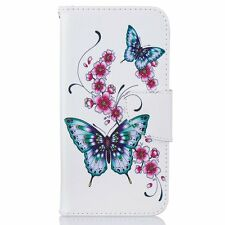 Peach butterfly Flip Leather Wallet Case Cover Stand Card Slot for Cell Phones