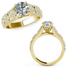 1 Carat Diamond Lovely Solitaire Halo Wedding Fancy Ring Band 14K Yellow Gold