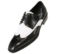 Asher Green Mens Two Tone Black & White Leather Wingtip Oxford : AG3027-473