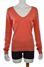Lilly Pulitzer Womens Orange V Neck Sweater Sz L Cashmere Long Sleeve Top Shirt