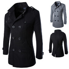 Winter Men's Warm Trench Coat Slim Long Wool Blends Double Breasted Jacket Parka