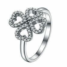 Ring Fashion Wedding Engagement S925 Solid Silver Clover Heart