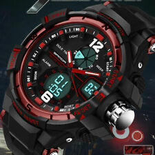 Fashion Military Men Silicone Analog Digital LED Alarm Sport Casual Wrist Watch