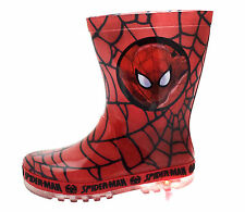 Boys SIZE 7 - 1 Red SPIDERMAN Light Up Waterproof Wellies Boots Welly