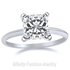 3.00 Ct Princess Cut Solitaire Engagement Ring. Solid 14K White Gold
