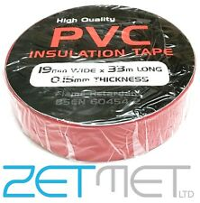 RED PVC Electrical Insulation / Insulating Tape 19mm x 33m Flame Retardant