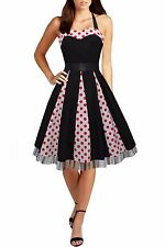 Ivy 50s Red Polkadot Panel Print Pinup Vintage Style Swing Rockabilly Dress