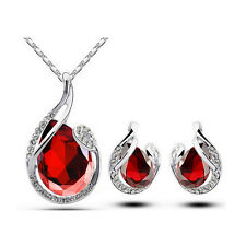 Teardrop Rhinestone Crystal Earring Pendant Chain Necklace Jewelry Set Gifts