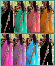 Bollywood Indian Party Wear Saree Pakistani Sari Designer Plain Wedding Saree