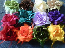 "5"" 12 cm HAIR ROSE FLOWER CORSAGE ELASTIC CLIP PIN FASTENING  many colours"