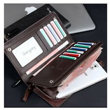 Mens Bifold Business Wallet Checkbook ID Card Holder Phone Purse Cowhide Leather