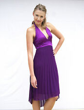 NEW Marilyn Glamour Purple Pleat Halter Formal Race Cocktail Dress 8 10