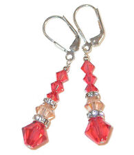 Long Dangle PEACH PADPARADSCHA Crystal Earrings Handcrafted Swarovski Elements