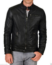 Mens Real Genuine Lambskin Leather Motorcycle Jacket Slim fit Biker Jacket KB544