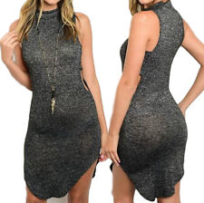 NEW Charcoal Gray Mock Neck Sleeveless Sweater Dress with Side Cut Outs