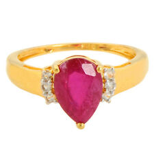 Ruby 2.10 Carat Genuine Gemstone  Diamond Ring In 14kt Yellow Gold Jewelry
