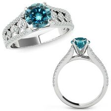 1 Ct Blue Diamond Beautiful Solitaire Halo Engagement Ring Band 14K White Gold