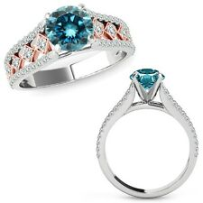 0.75 Ct Blue Diamond Beautiful Solitaire Halo Wedding Ring Band 14K Rose Gold