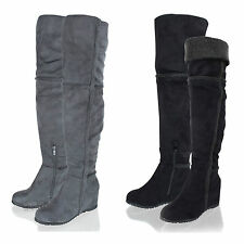Womens Ladies Over The Knee High Long Faux Suede Wedge Heel Winter Boots Shoes