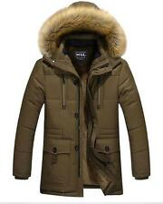 Mens Outwear Winter Hooded Thicken Warm Parka fur Down Blend Coat Size 5XL