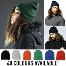 KNITTED BEANIE HAT WINTER WARM WOOLY UNISEX MENS LADIES GIRLS SKI CAP TURN UP